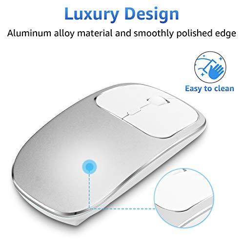 Zienstar-Ultradünne Wiederaufladbare,Kabellose Maus mit USB-Empfänger,Silent Click,Aluminiumlegierung,600Mah-Lithium-Batterie für MacBook,Laptop und Computer (Silver)