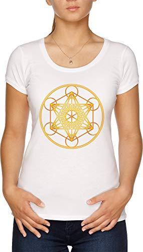 Metatrons Cubo, Flor De Vida, Sagrado Geometría Camiseta Mujer Blanco