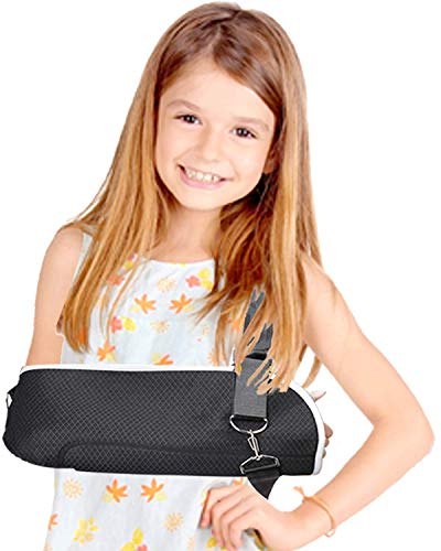 DouHeal Kids Arm Sling, Double Fixed Design, Built-in ABS Arm Support, Comfort, Adjustable, Left & Right Arm Sling for Shoulder, Elbow, Wrist Injury, Children(Boys & Girls)