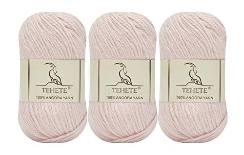 TEHETE 100% Angora Fil de Laine à Tricoter, Pelote de Laine à Crochet, 4 Plis, 50g x 3 Pelotes, Doux Luxueux