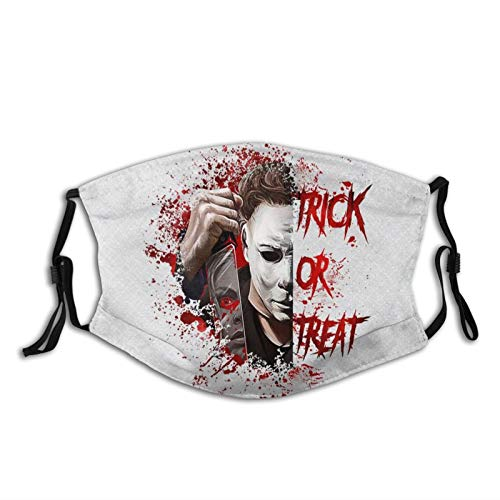Michael Myers Stylish Cloth Face Cover Washable with Filter Pocket Adjustable Ear Loops 3 Layers Cotton Face Covers for Women