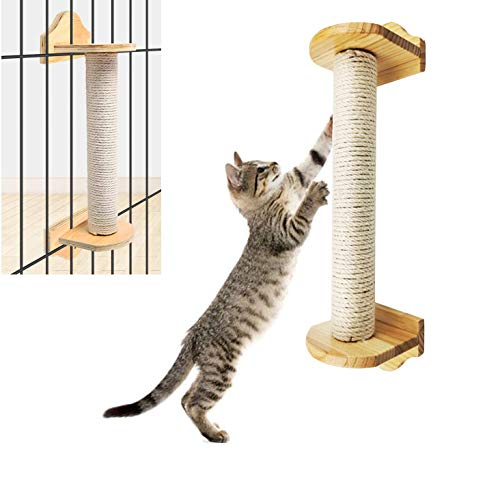Treasborn Wall Cat Scratching Post and Cage Mounted Sisal Scratcher for Cats No Mess Floor Sturdy Wood Mountings Space-Saving Scratch Post Furniture Natural Style