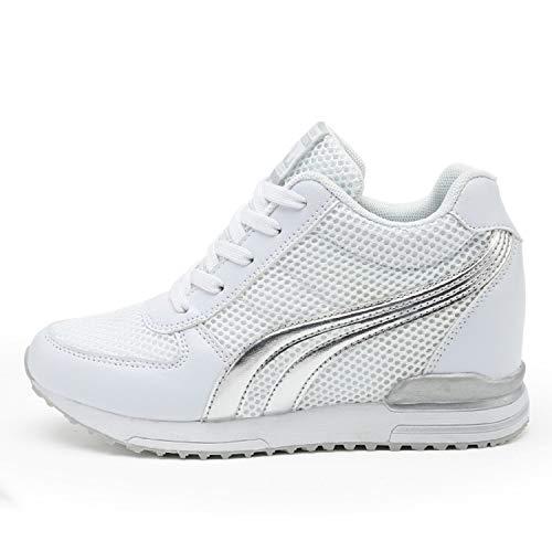 AONEGOLD® Damen Sneakers Wedges Keilabsatz 7cm Sportschuhe Atmungsaktive Mesh Laufschuhe Outdoor Freizeitschuhe Turnschuhe(Weiß,37 EU)