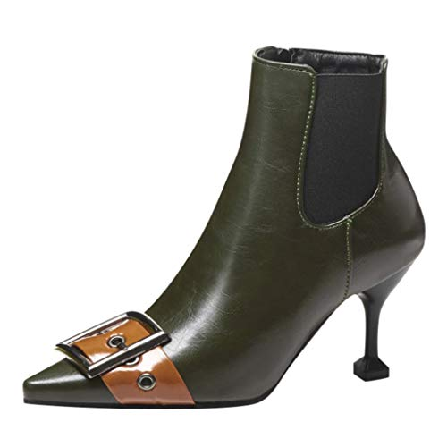 NMERWT Damen Worker Boots Hohe Absätzen Stiefeletten Damenstiefel Stiefel mit hohen Absätzen Mit Schnalle Seitlichem Reißverschluss Plus Samtschuhe