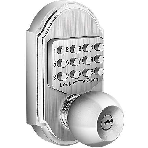 Bravex Keyless Entry Keypad Deadbolt Door Lock 304 Stainless Steel 100% Mechanical - No Risk of Low Power