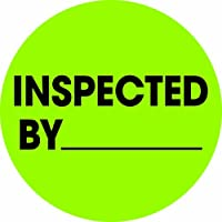 Tape Logic DL1266 2 in. Circle - Inspected By Fluorescent Green Labels - Roll of 500