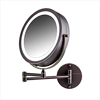 Ovente 7  Lighted Wall Mount Makeup Mirror 1X & 10X Magnifier Adjustable Double Sided Round LED Extend Retractable & Folding Arm Compact & Cordless Battery Powered Antique Bronze MFW70ABZ1X10X