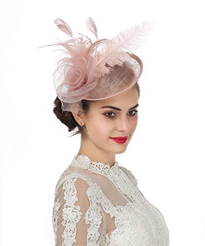 Haojing Sinamay - Diadema de plumas para mujer, diseño de flores, ideal para bodas, cócteles, fiestas de té, etc. Rosa A4-light Pink 85
