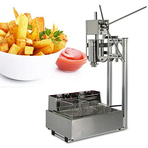 Manual Spanish Donut Churros Machine,3L Stainless Steel Heavy Duty W/Stand Commercial For Cake Room Coffee Shop Bakery Equipment Restaurants,Cafeterias and Bakeries (With 12L fryer)