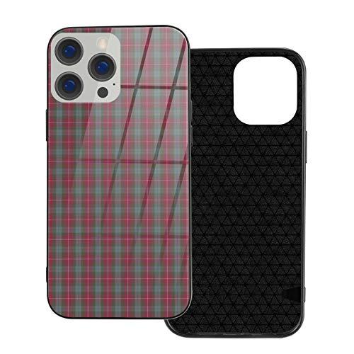 Funda de teléfono compatible con iPhone 12Pro Max-6.7 pulgadas, suave TPU cubierta de protección completa, parte trasera de cristal templado, Fraser rojo desgastado tartán
