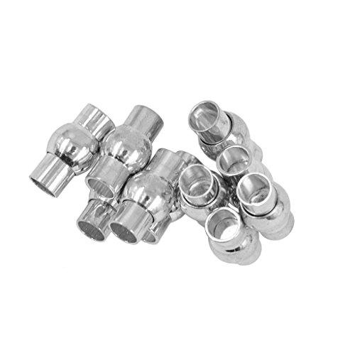 10 x Chiusura Magnetica Tubo in Rame Accessorio Leggero Forniture per Gioielli - Argento