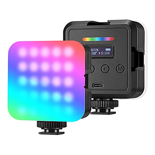 Neewer RGB Video Light, RGB61 360° Full Color LED Camera Light with 3 Cold Shoe, CRI 97+, 20 Scene Modes, 2500K~8500K, 2000mAh Rechargeable Battery for Gaming/YouTube/Vlog/Photography