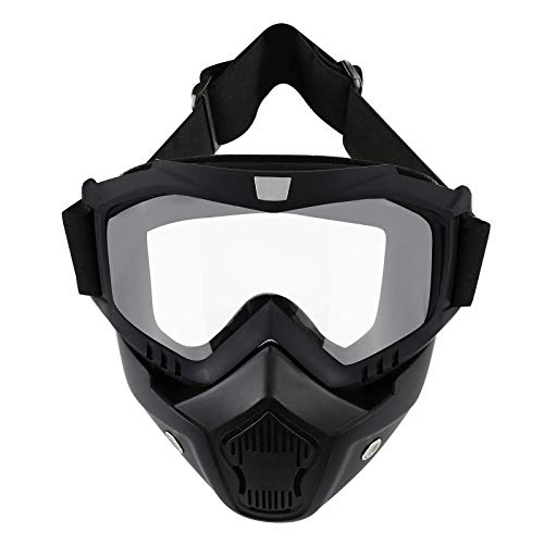 LJDJ Motorcycle Goggles with Removable Face Mask - Dirt Bike ATV Motocross Eyewear Anti-UV Adjustable MX Riding Offroad Cycling Motorbike Protective Glasses Racing Combat Tactical Military Goggles