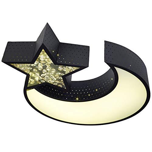WOHNLING LED plafondlamp NIGHTSKY metaal EEK A+ plafondlamp maan en ster zwart | Design kinderkamerlamp 30 Watt 2550 lumen warm wit | slaapkamerlamp 55 x 50 cm