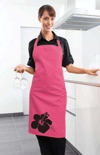 Hot Pinke Schürze mit Hibiscusblüte 1 in Farbe Schwarz - Hibiskus Blüte Blume