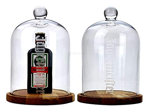 Jägermeister Käseglocke/Vitrine mit Jägermeister 0,35L (35% Vol) - Glas Käseglocke/Vitrini mit Holzuntersetzer + Jägermeister 0,35L Flasche