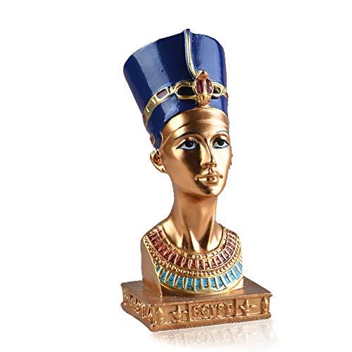 VAXMON Statue ägyptische Königin Nefertititi, Kleiner Kopf und Büste, Kunstharz, 11,4 cm hoch
