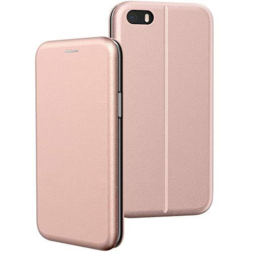 BYONDCASE iPhone SE 2016 Hülle Roségold, iPhone 5s Hülle, iPhone 5 Handyhülle [Deluxe Leder Flip-Case Klapphülle] Fullbody 360 Grad Rundumschutz kompatibel mit dem iPhone 5s / 5 / SE2016