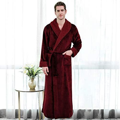 YYOBK Men's Big & Tall Pajama Sets,Men's Pajama Sets,Men's Bathrobes,Men's Big & Tall Sleepwear,Luxurious Men's Shawl Collar Fleece Bathrobe Spa Robe (Color : Claret, Size : 150-160cm(40-60kg))