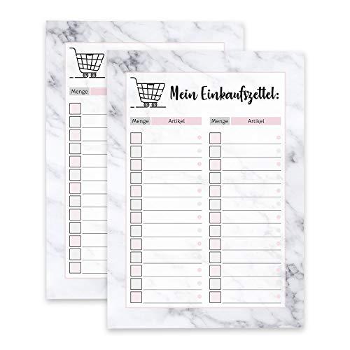 2 kleine Notizblöcke Mein Einkaufszettel I DIN A6 50 Blatt I Einkaufsblöcke Set mit Marmor-Optik zum Ankreuzen für die Küche Handtasche Auto I dv_379