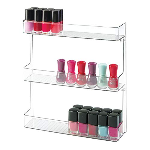 mDesign Estantes para esmaltes de uñas – Elegante organizador de cosméticos para el baño – Prácticos estantes de pared para guardar medicamentos – 3 baldas – Transparente