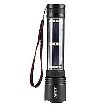 NPET T08-2 Solar Power Flashlight Car Flashlight USB Rechargeable Tactical Multi-function Torch Emergency Tool