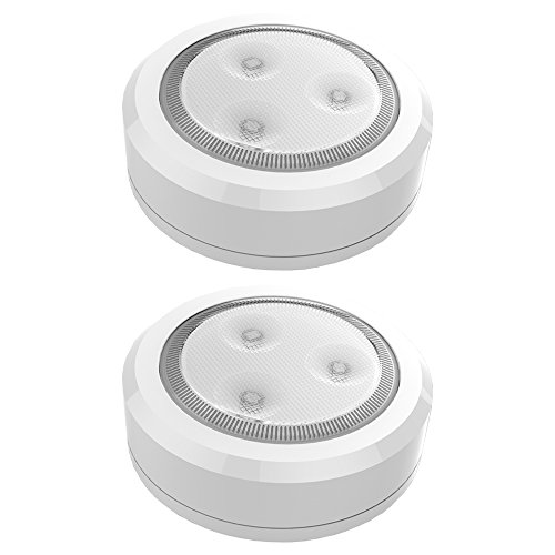 Brilliant Evolution BRRC113 Ultra Thin Wireless LED Puck Light 2 Pack | LED Under Cabinet Lighting | Closet Light | Battery Powered Lights | Under Counter Lighting | Stick On Tap Light