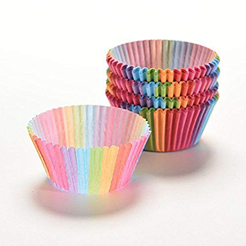 Kingso - Pirottini di carta per cupcake/muffin, 100 pezzi, multicolore, per feste, matrimoni ecc.