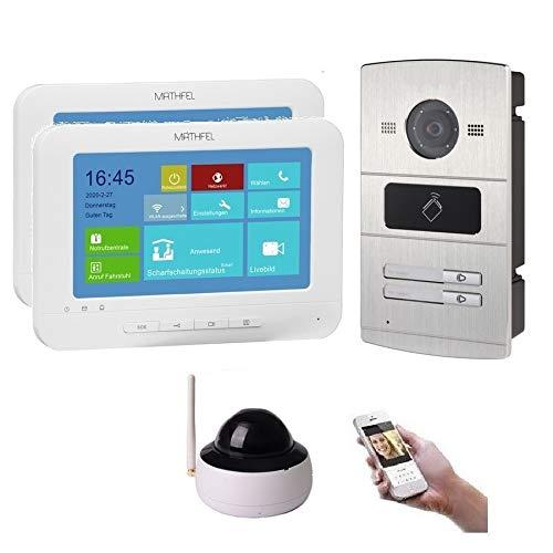 WLAN 2 Familienhaus IP Video Türsprechanlage, Unterputz-Türstation IP65, 7 Zoll Monitor, HD-Kamera 130°, Foto-/Video-Speicher, PoE-Switch, Farbe: 2x7'' Monitor + 1x Kamera