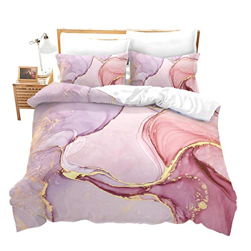 Chic Girly Marble Duvet Cover Queen Marble Printed Bedding Sets Gold Glitter Turquoise Blue and White Marble Abstract Art Comforter Cover with Zipper Ties, Soft Microfiber Modern Marble Decor Quilt