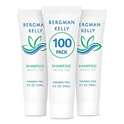 BERGMAN KELLY Travel Size Hotel Shampoo (0.5 fl oz, 100 PK, White Tea), Delight Your Guests with Revitalizing and Refreshing Shampoo, Quality Mini & Small Size Guest Amenities Hotel Toiletries in Bulk