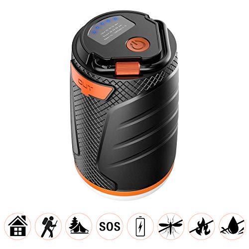 VDROL Lanterne de Camping Rechargeable LED 8800mah / 3.7V Secours Sauvage Double Flash SOS Lampe Portable Etanche avec 5 Modes d'Éclairage pour Camping, Bivouac, Pêche, Randonnée, Cave, etc