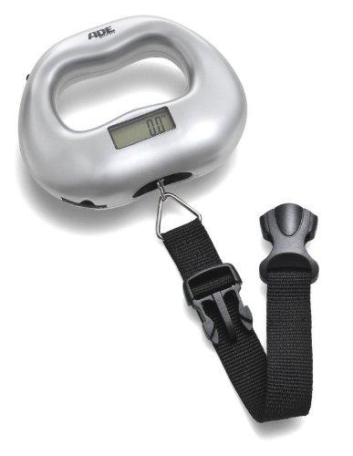 ADE Digitale Kofferwaage KW 901 Maxi. Elektrische Gepäckwaage mit praktischem Klickverschluss zum genauen Wiegen des Gepäcks. Bis zu 55 kg. Hängewaage mit LCD-Display, Tara- und Hold-Funktion. Silber