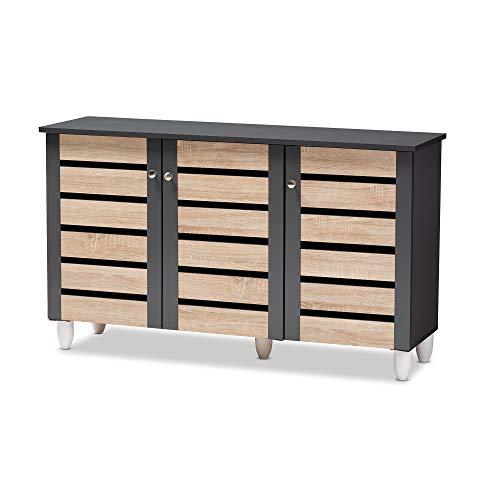 Baxton Studio Shoe Cabinets, One Size, Oak/Dark Gray