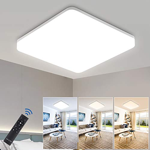LED Deckenleuchte Dimmbar 36W, IP54 Led Deckenlampe dimmbar mit Fernbedienung, Lichtfarbe und Helligkeit einstellbar, LEOEU Schlafzimmerlampe, Wohnzimmerlampe, Kinderzimmerlampe