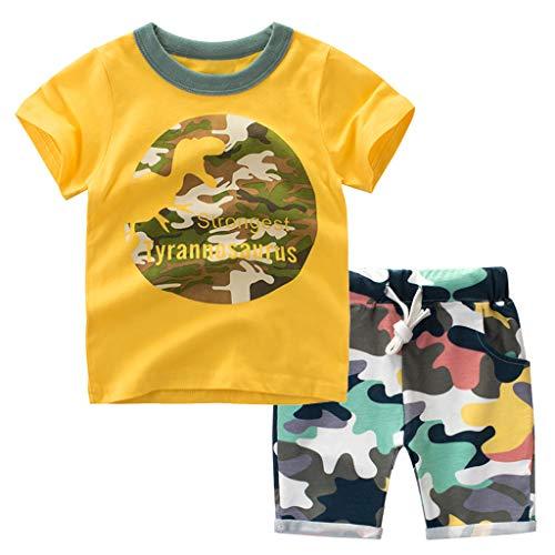 Tyoby Baby Cartoon Dinosaurier Camouflage Top + Camouflage Shorts zweiteilig Mode Kurzarmanzug (Gelb,90)