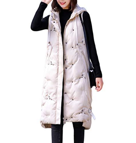 GL SUIT vrouwen gewatteerde lange Gilet Body Warmer Hooded Vest outdoor gewatteerde vesten lichtgewicht jas mouwloze winterjassen voor wandelen reizen
