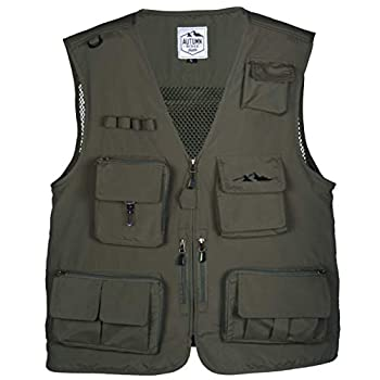 Lightweight 16 Pocket Vest for Fishing Photography or all outdoor activities  Green Large