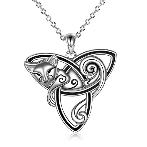 POPLYKE Triquetra Cat Pendant Necklace for WomenSterling Silver Celtic Trinity Knot Necklace Jewelry Gifts for Girls