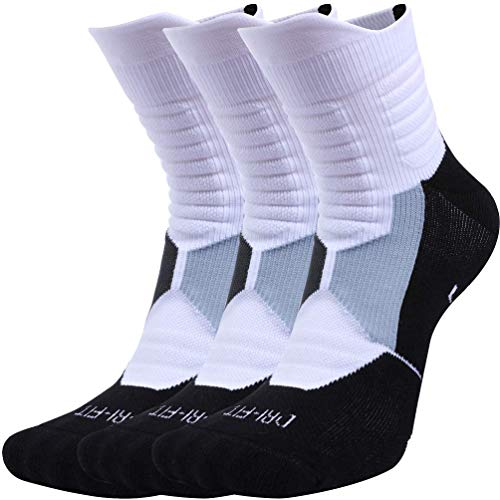 Pelisy Womens & Mens Athletic Socks Compression Crew Sock Men 3 Pack For Basketball & Running, White, Fit to US Size 9 - 11.5