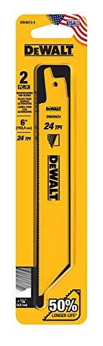 DEWALT Reciprocating Saw Blades, Straight Back, 6-Inch, 24 TPI, 2-Pack (DW4813-2)
