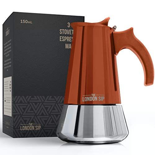Stainless Steel Induction Stovetop Espresso Maker - Make Cafe Quality Italian Style Coffee at Home with This Premium Moka Pot in Modern Chrome, by The London Sip Company (Copper, 3 Cup)