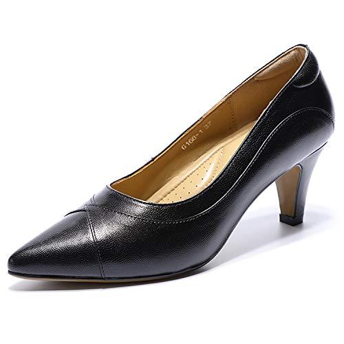 Mona flying Damen Leder Comfort Pumps Arbeitsschuhe High Heels Court Shoes Büro Businessschuh