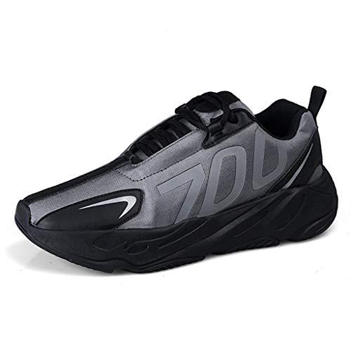 Wojiyu Lichte heren-skateboardschoenen voor herfst en winter, zacht en comfortabel, om te lopen in de stijl van High Top Running schoenen (kleur: zilver, maat: 39-44)
