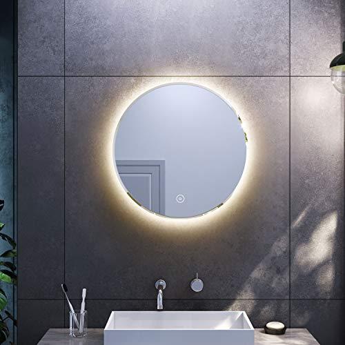 Sonni LED Rundspiegel 60cm Beschlagfrei Warmweiß Wandspiegel Badezimmerspiegel mit Anti-Fog-Funktion mit Touchschalter