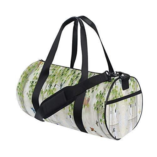 ZOMOY Gym Bag,Ivy Vine Plant Hanging Birds Flying Rococo Wall Background,New Canvas Print Bucket Sports Bag Fitness Bags Travel Duffel Luggage Canvas Handbag