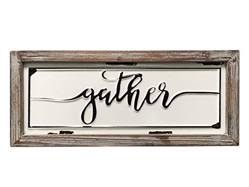 DeliDecor Gather - 12' X 5' Wooden Signs Wall Decor Rustic Embossed Retro Metal and Wood Framed Sign Modern Farmhouse Wall Hanging Art Gather Sign Home Decor