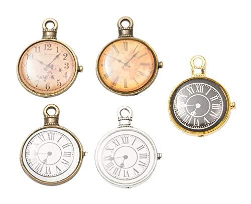 LIXBD Uhren-Anhänger, Charms, Antik-Silber, Uhren, Vintage-Uhren, Charm, Ziffernblatt, für DIY-Schmuckherstellung, Zubehör, 15 Stück