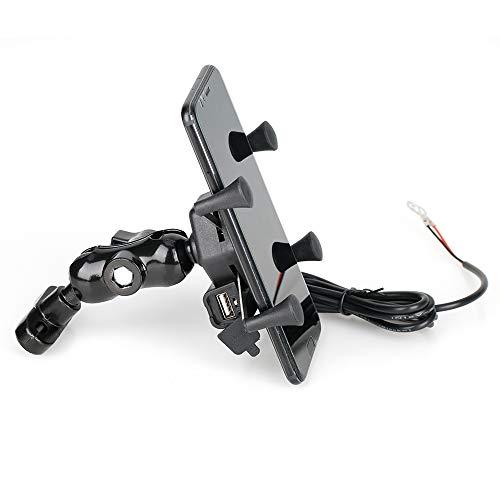 Zhangenlian- Soporte for teléfono con USB GPS de navegación Soporte de Accesorios de la Motocicleta for Yamaha YZF R1 R3 R6 YZF R15 R1S R1M R25 R125 (Color : Black)