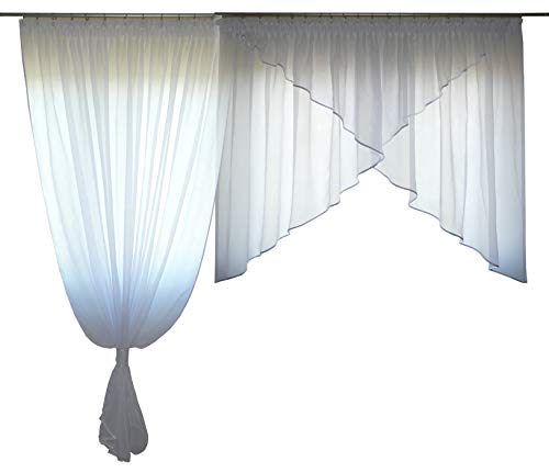 FKL mooi kant-en-klaar gordijn raamgordijn van voile gordijn balkongordijn set rookband schuine raam wit 250-280 cm AG38-A Bezet violet